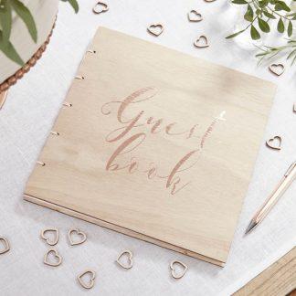 Houten gastenboek met rosé gouden letters