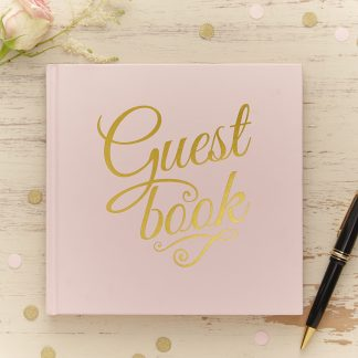 Gastenboek - lichtroze met gouden letters
